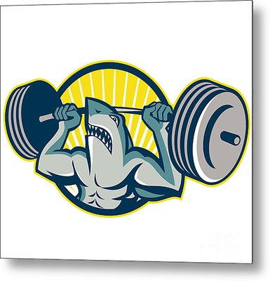 Shark Weightlifter Lifting Barbell Mascot Metal Print by Aloysius Patrimonio