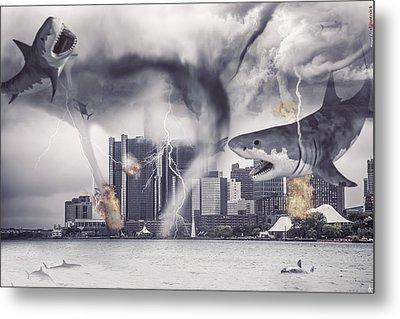 Metal Print featuring the photograph Sharknado Detroit by Nicholas  Grunas