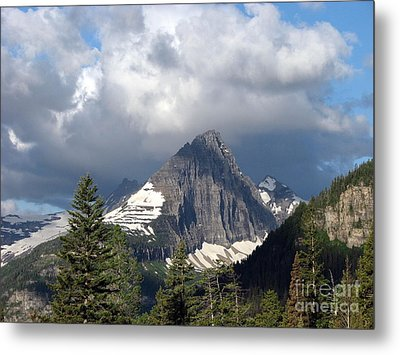 Sharp Peak Into Clouds Metal Print