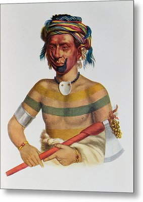 Shau-hau-napo-tinia, An Iowa Chief, 1837, Illustration From The Indian Tribes Of North America Metal Print by Charles Bird King