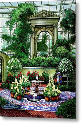Metal Print featuring the painting Shaw's Gardens Mediteranian House by Michael Frank