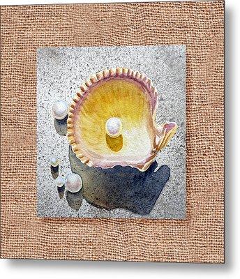 She Sells Seashells Decorative Collage Metal Print