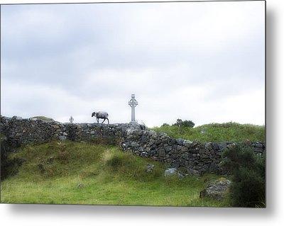 Sheep And Cross Metal Print