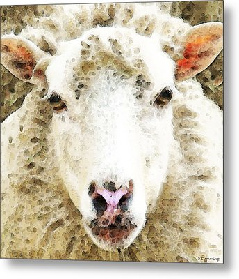 Sheep Art - White Sheep Metal Print by Sharon Cummings