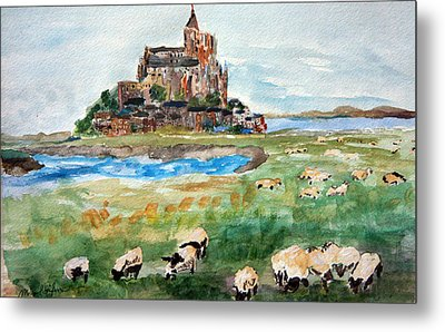 Sheep Grazing At Mont Saint Michel Metal Print