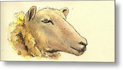 Sheep Head Study Metal Print by Juan  Bosco