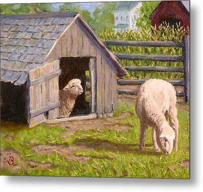 Metal Print featuring the painting Sheep House by Joe Bergholm