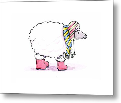 Sheep In A Scarf Metal Print by Christy Beckwith