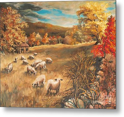 Sheep In October's Field Metal Print by Joy Nichols