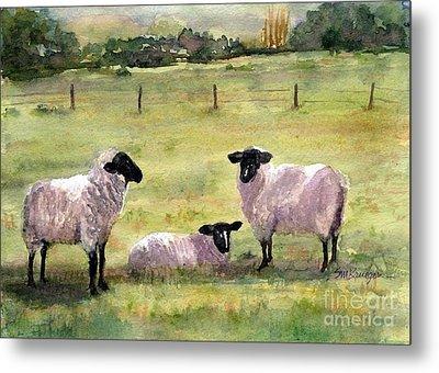 Sheep In The Meadow Metal Print