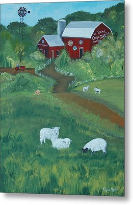 Sheeps In The Meadow Metal Print