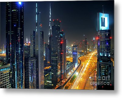 Sheikh Zayed Road In Dubai Metal Print by Lars Ruecker