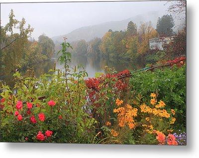 Shelburne Falls Bridge Of Flowers Autumn Mist Metal Print by John Burk