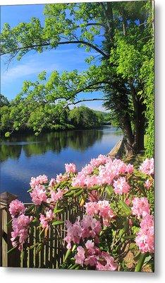 Shelburne Falls Deerfield River And Bridge Of Flowers Metal Print by John Burk