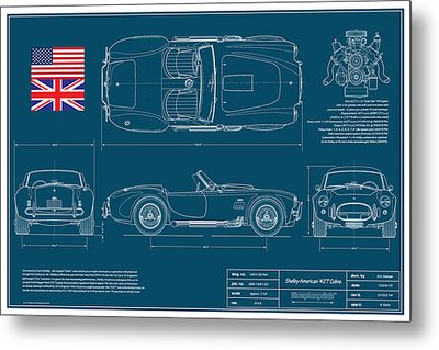 Shelby American 427 Cobra Blueplanprint Metal Print by Douglas Switzer