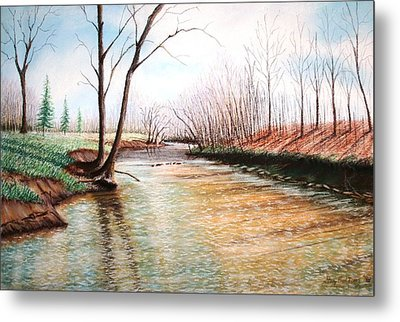 Metal Print featuring the pastel Shelby Stream by Stacy C Bottoms