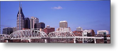 Shelby Street Bridge With Downtown Metal Print by Panoramic Images