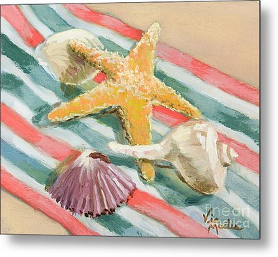 Metal Print featuring the painting Shells Abound by Vic  Mastis