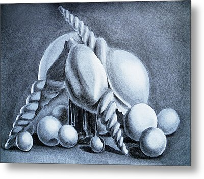 Shells Shells And Balls Still Life Metal Print by Irina Sztukowski
