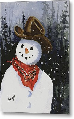 Shelly's Snowman Metal Print by Sam Sidders