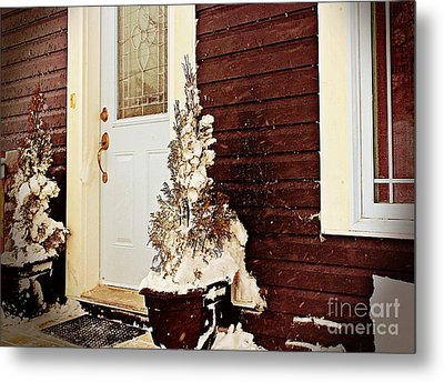 Shelter From The Storm - Blizzard - Snow Storm Metal Print by Barbara Griffin