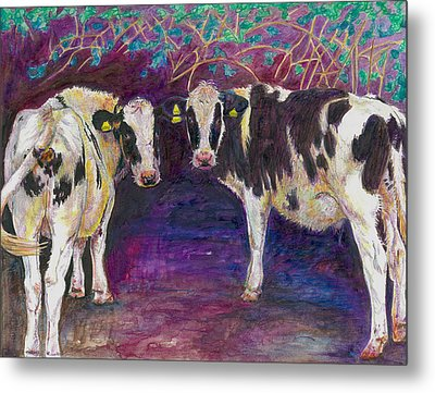 Sheltering Cows Metal Print by Helen White