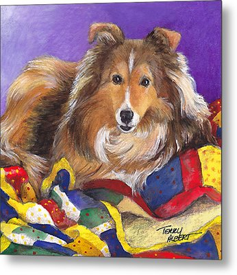 Sheltie On Quilt Metal Print