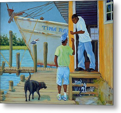 Shem Creek Docks Week End Metal Print