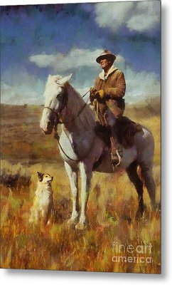 Metal Print featuring the painting Shepherd And His Dog by Kai Saarto