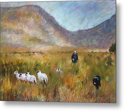 Metal Print featuring the drawing Shepherd And Sheep In The Valley  by Viola El