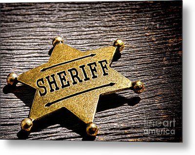 Sheriff Badge Metal Print by Olivier Le Queinec