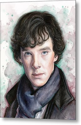Sherlock Holmes Portrait Benedict Cumberbatch Metal Print by Olga Shvartsur