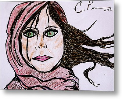 Metal Print featuring the drawing She's Like The Wind by Chrissy  Pena