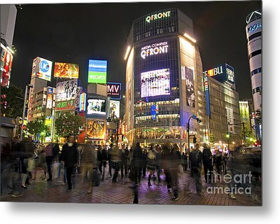 Shibuya Crossing At Night Tokyo Japan  Metal Print