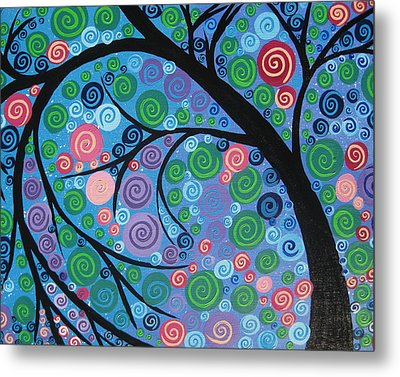 Shimmer Tree Metal Print by Cathy Jacobs