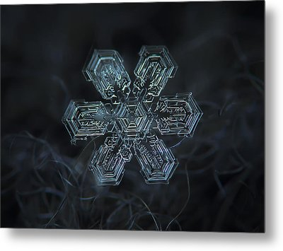 Metal Print featuring the photograph Snowflake Photo - Shine by Alexey Kljatov