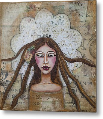 Shine Inspirational Mixed Media Folk Art Metal Print