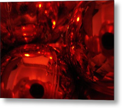 Shiney Red Ornaments One Metal Print