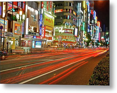 Shinjuku Neon Strikes Metal Print