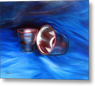 Metal Print featuring the painting Shiny Metal Cups Study by LaVonne Hand