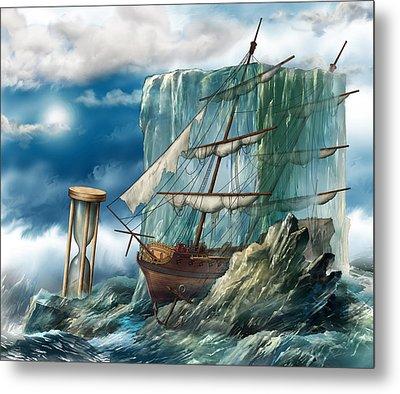 Ship And Ice Metal Print