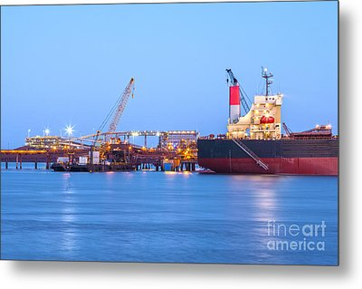 Ship And Port At Twilight Metal Print by Colin and Linda McKie