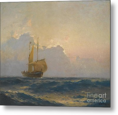 Ship At Dusk Metal Print by Celestial Images