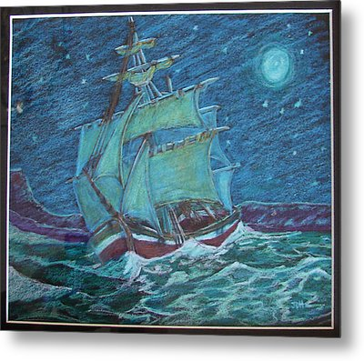 Metal Print featuring the drawing Ship At Sea by Joseph Hawkins