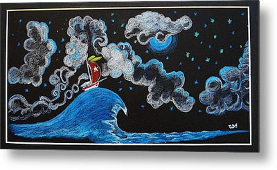 Metal Print featuring the drawing Ship Big Wave by Joseph Hawkins