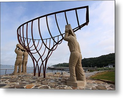 Ship Builders Sculpture Port Jefferson New York Metal Print by Bob Savage