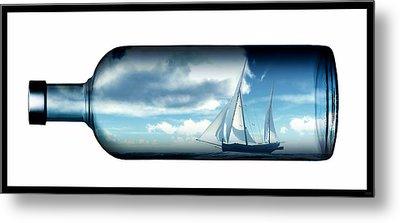 Metal Print featuring the digital art Ship In Bottle... by Tim Fillingim