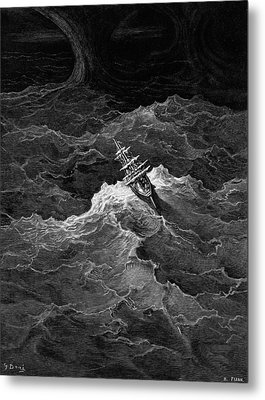 Ship In Stormy Sea Metal Print by Gustave Dore