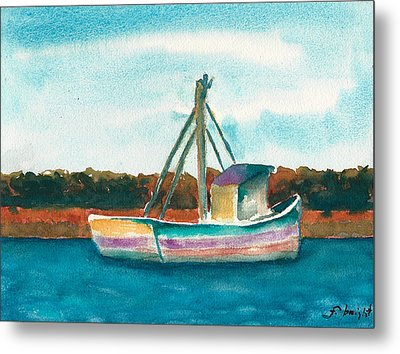 Ship In The Marsh Metal Print