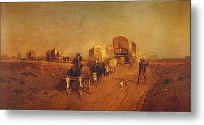 Ship Of The Plains Covered Wagons Metal Print by Samuel Colman
